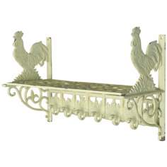 Weathered White Rooster Wall Shelf