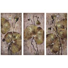 Uttermost Set of 3 Lotus Leaves Wall Art