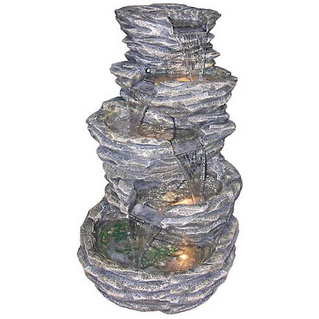 "Gray Rock Cascade 39"" High Lighted Fountain"