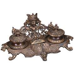 Monarch Antique Dark Brass Inkstand
