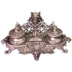 Monarch Antique Silver Inkstand