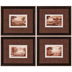 Set of 4 Landscapes II Framed Wall Art