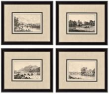 Set of 4 Idyllic Bridges Framed Prints Wall Art