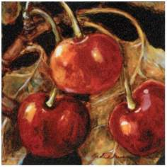 "Sweet Cherries I Wrapped Canvas Print 11 1/2"" Wide Wall Art"