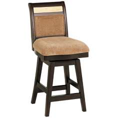 "Beige Chenille 26"" High Swivel Counter Stool"