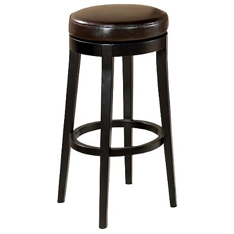 "Dark Brown Faux Leather 26"" High Swivel Counter Stool"