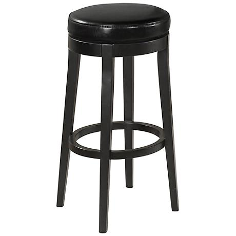 "Midnight Black Faux Leather 26"" High Counter Stool"