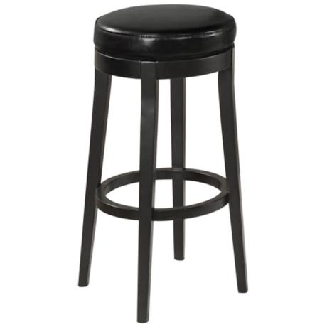 "Midnight Black Leather 26"" High Counter Stool"