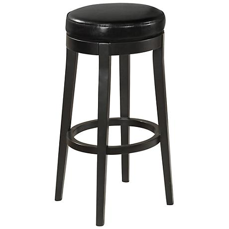 "Midnight Black Faux Leather 30"" High Swivel Bar Stool"