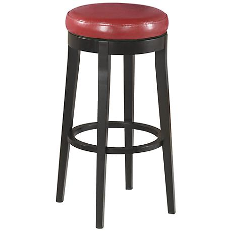 "Burnt Red Faux Leather 30"" High Backless Swivel Barstool"
