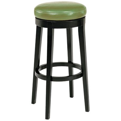 "Wasabi Green Leather 30"" High Backless Swivel Bar Stool"