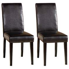Set of Two Dark Brown Leather Side Chairs