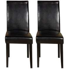 Set of Two Black Leather Side Chairs