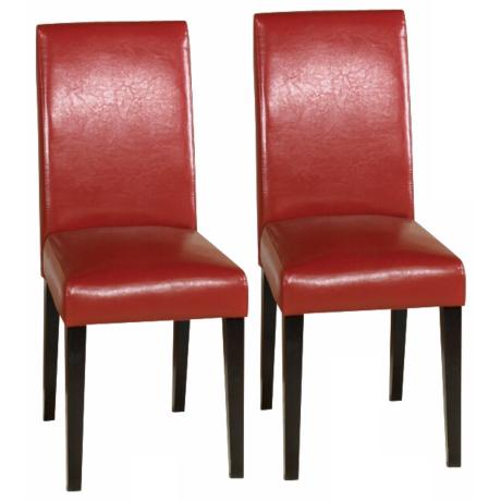 Set of Two Red Leather Side Chairs
