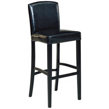 "Black Leather with Back 30"" High Bar Stool"
