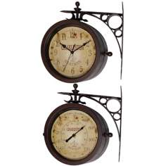 "Charleston Station 11"" High Two-Sided Thermometer Wall Clock"