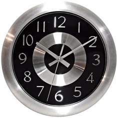 "Mercury Black 10"" Wide Wall Clock"