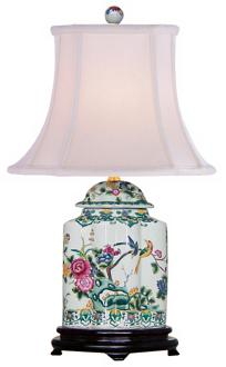 Green Floral Porcelain Scalloped Tea Jar Table Lamp (J4927) J4927