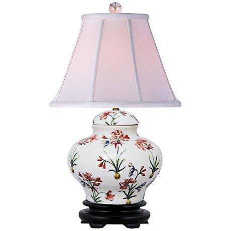 Floral Pattern Porcelain Jar Table Lamp