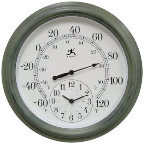 "Combo Indoor-Outdoor 15 3/4"" Wide Wall Clock Thermometer"