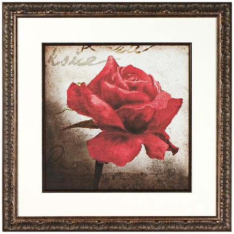 Walt Disney Beauty and The Beast Rose Print Framed Wall Art