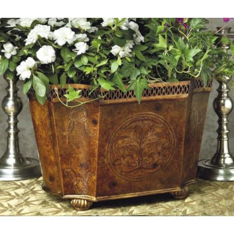 Burl Wood Finish Iron Planter