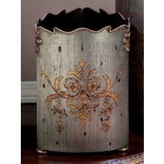 Pewter Finish Iron Waste Basket