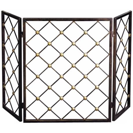 Bronze Finish Iron Button Fire Screen