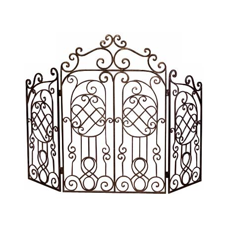 Bronze Finish Iron Gated Fire Screen