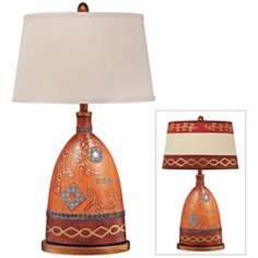 Carlton Haney Country Quilt Pattern Ceramic Table Lamp