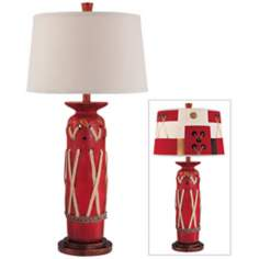Carlton Haney Red with Rope Accents Ceramic Table Lamp