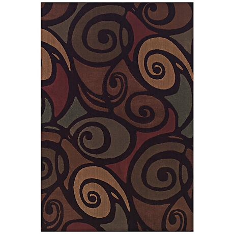 Ringlets Brown Multi Area Rug