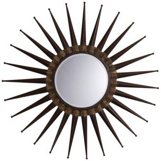 Sunburst Chestnut Round Wall Mirror