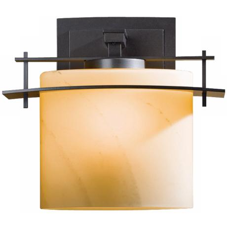 "Arc Ellipse Collection Stone Glass 11"" High Wall Sconce"