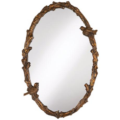 "Uttermost Paza Love Birds Oval 34"" High Wall Mirror"