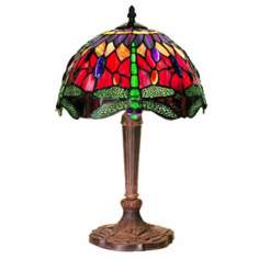 "Dragonfly Ruby and Purple Tiffany Style 18"" High Table Lamp"
