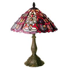 "Raspberry Swirl Tiffany Style 18"" High Table Lamp"