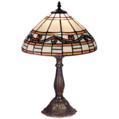 "Amber and Red Swirl Tiffany Style 18"" High Table Lamp"