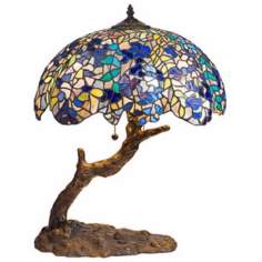 Lilac Tree Trunk Tiffany Style Table Lamp