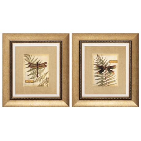 Set of 2 Dragonfly Fern Wall Art