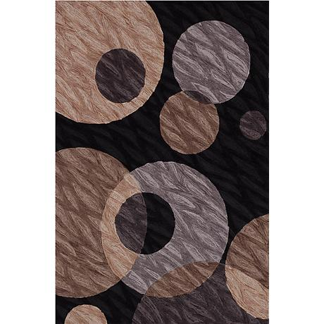 Textured Black Multi Area Rug