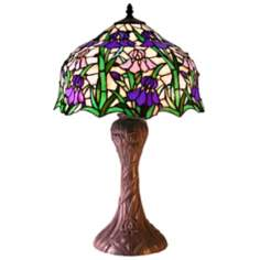 Purple and Lavender Iris Tiffany Style Table Lamp