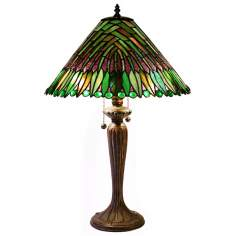 Palm Leaf Tiffany Style Table Lamp