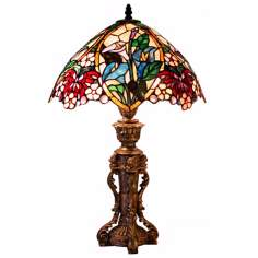 Ornate Butterfly Floral Tiffany Style Table Lamp