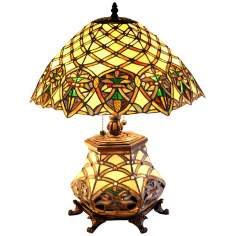 "Garden Trellis Night Light Tiffany Style 26"" High Table Lamp"