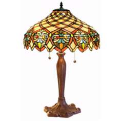 "Garden Trellis Tiffany Style 25"" High Table Lamp"