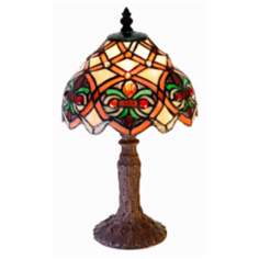 "Lattice Tiffany Style Accent 14"" High Table Lamp"