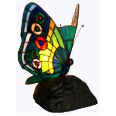 Butterfly Blue Green Yellow Tiffany Style Accent Lamp