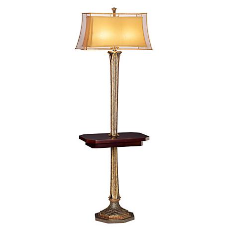 Kathy Ireland Slender Leaves Tray Table Floor Lamp