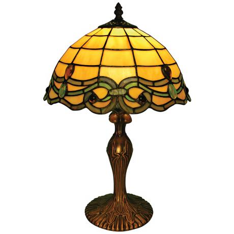 Vanilla Green Blue Baroque Tiffany Style Accent Table Lamp